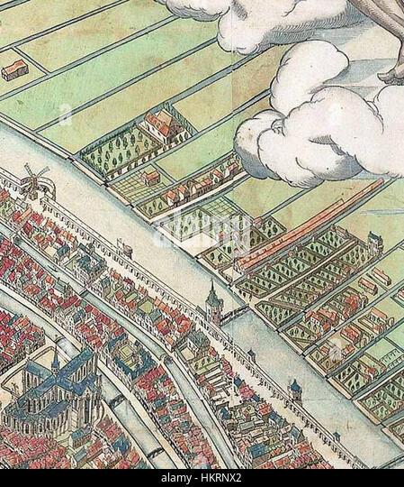 Cornelis Anthonisz. - vogelvluchtkaart amsterdam detail 01 - Stock Image