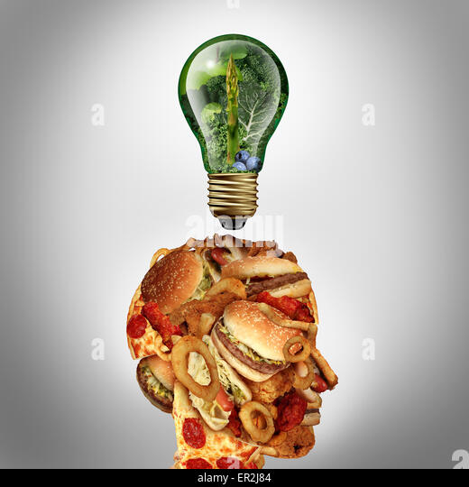 Diet Motivation and dieting inspiration concept as a human head made of greasy junk food with a lightbulb idea icon - Stock-Bilder