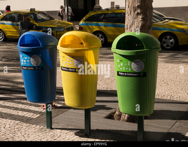 Streey Recycling Bins, Funchal, Madeira, Portugal - Stock Image