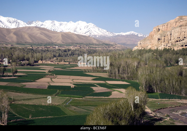 A green, fertile and peaceful valley in Afghanistan's Bamiyan province - Stock Image