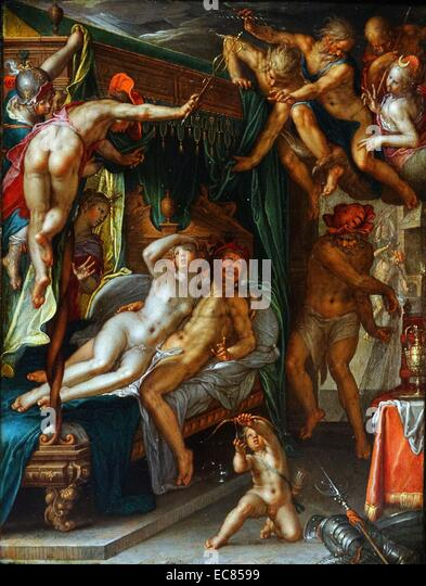 Painting titled 'Mars and Venus Surprised by Vulcan'. Painted by Joachim Anthonisz Wtewael (1566-1638). - Stock Image