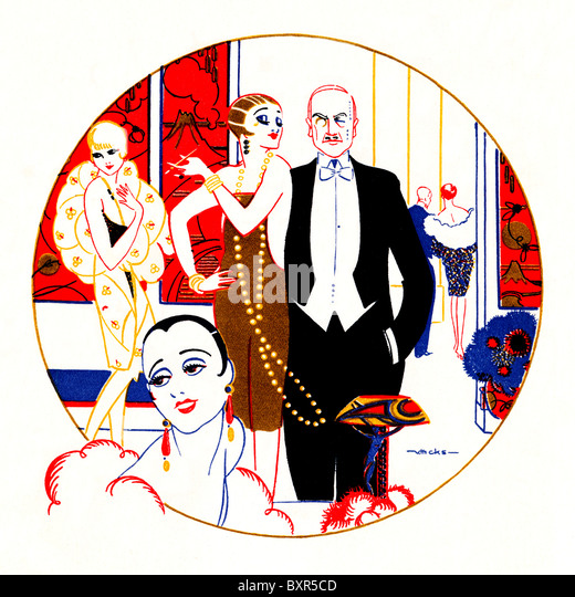 Mayfair Hotel, 1927 Art Deco illustration of high society at an evening event in the fashionable London establishment - Stock Image