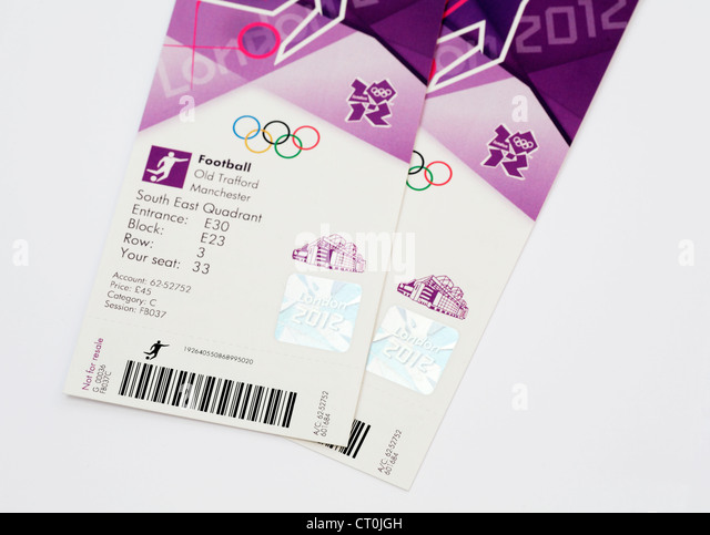 Pair of tickets to football competition at Old Trafford Manchester 2012 London Olympics - Stock Image