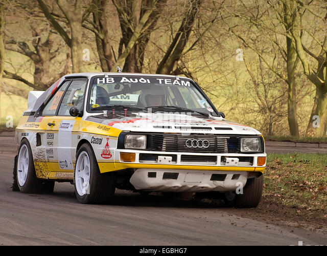 Warwickshire, UK. 21st Feb, 2015. Audi Quattro Sport Group B Rally Car on special stage track at Race Retro Event - Stock Image