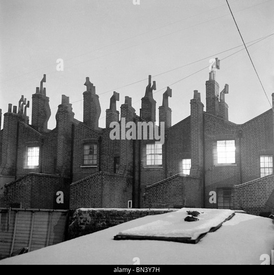 Rear view of residential Victorian buildings, photo John Gay. London, England, 1940s - Stock Image