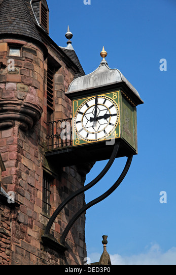 Tolbooth clock tower Canongate High St Royal Mile Edinburgh Scotland - Stock Image