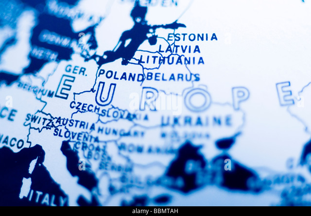 Central europe blue globe world earth planet map - Stock Image