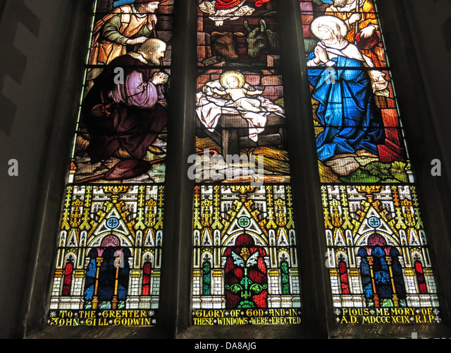 Stained Glass in Dorchester On Thames Abbey Church - Stock Image