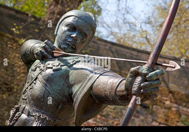 Robin Hood statue, Nottingham, Nottinghamshire, England, United Kingdom, Europe - Stock Image