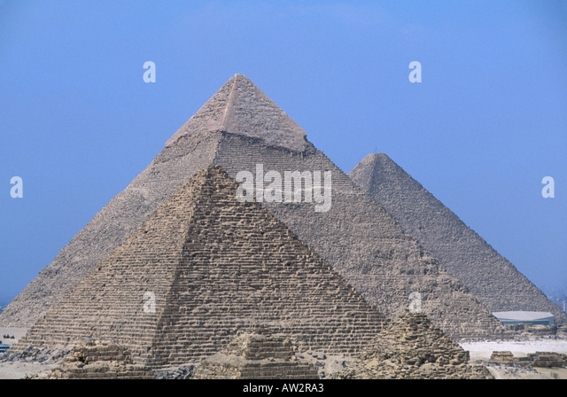 Egypt Giza three pyramids lined up behind each other - Stock Image