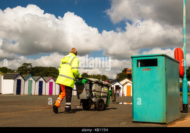 seaside beach rubbish bin litter collection, waste management - Stock Image