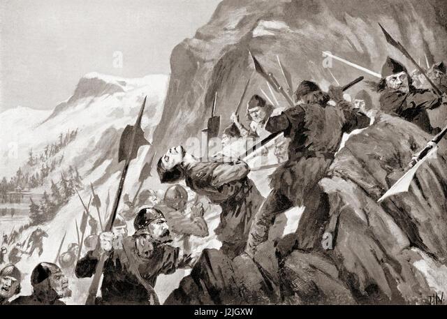 The Battle of Morgarten, Morgarten Pass, Switzerland, 15 November 1315, between the Swiss Confederacy and Austrian - Stock Image