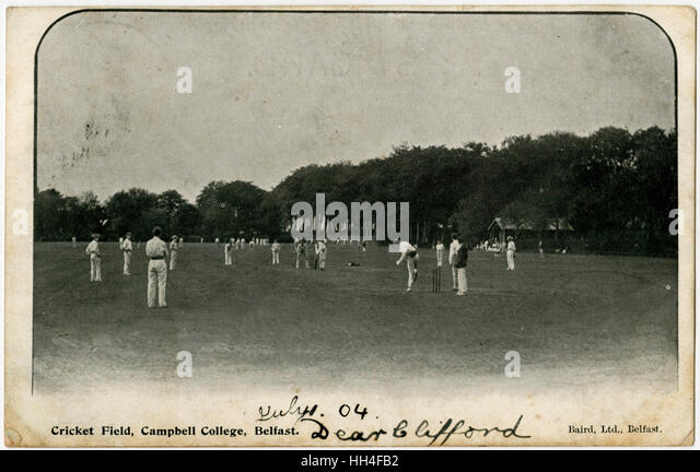 Cricket Field, Campbell College, Belfast, Northern Ireland. - Stock Image