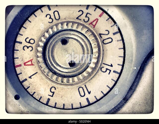 vintage camera film numbering - Stock Image