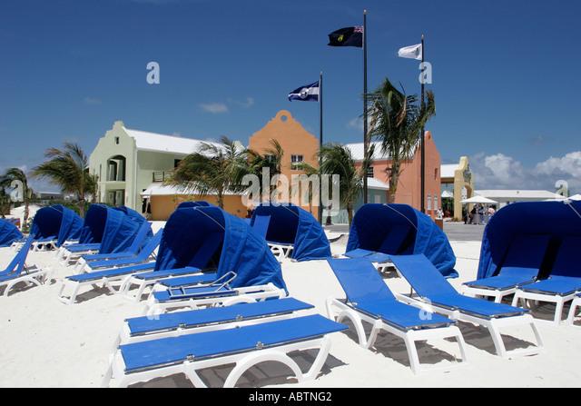 Grand Turk Cockburn Town Cruise Ship Center beach lounge chairs - Stock Image