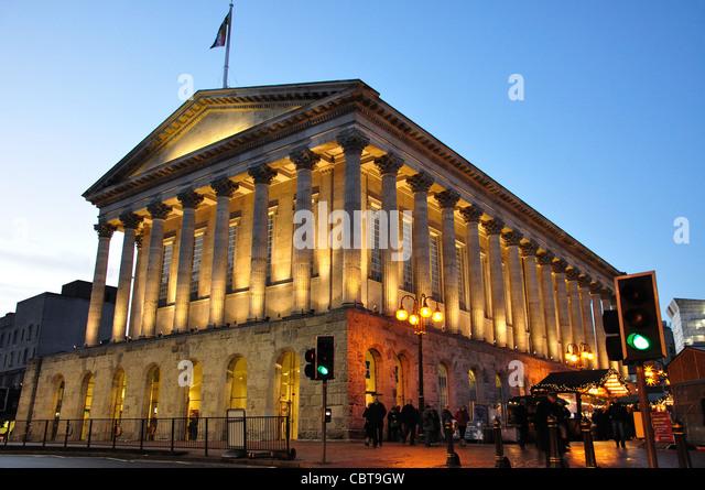 Birmingham Town Hall at dusk, Chamberlain Square, Birmingham, West Midlands, England, United Kingdom - Stock Image