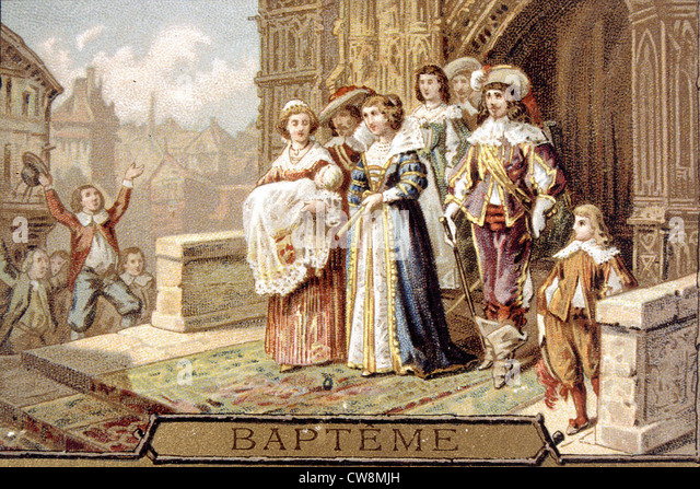 18th century christening, advertisement - Stock Image