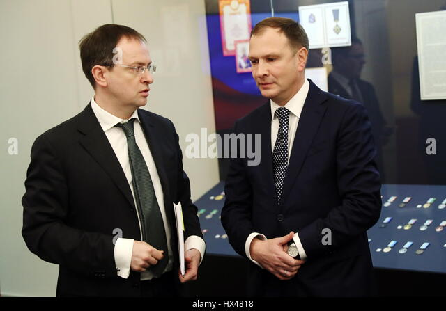 Moscow, Russia. 24th Mar, 2017. Russia's minister of culture Vladimir Medinsky (L), and journalist Alexander - Stock Image