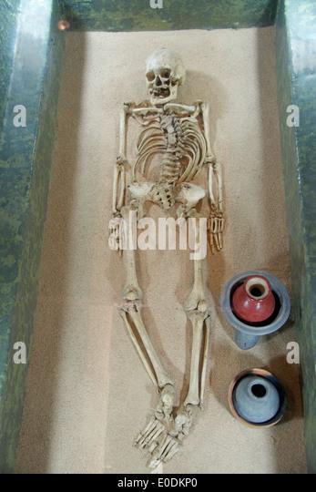 Reconstuction of grave tomb 104 Zapotec civilization Monte Alban museum Oaxaca Province Mexico - Stock Image