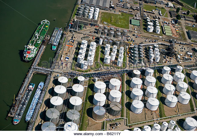 Holland Zuid Holland Rotterdam Harbour Oil storage Aerial - Stock Image