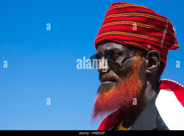 Portrait of a Borana tribe elder with a red beard during the Gada system ceremony, Oromia, Yabelo, Ethiopia - Stock-Bilder