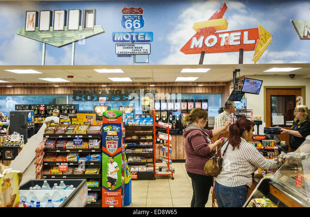 Illinois McLean Historic Route 66 US 66 highway Interstate 55 Dixie Truck Stop travel plaza convenience store shopping - Stock Image