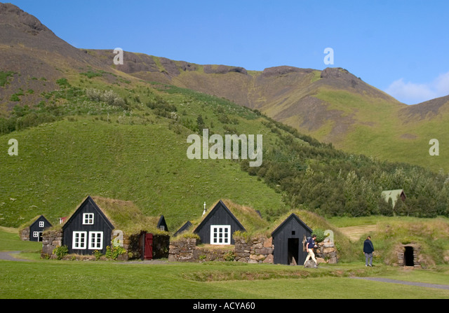 Iceland Skogar open air museum little typical farmhouses in green landscape - Stock Image