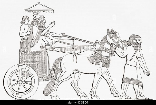 An Assyrian king in his chariot of state. - Stock Image