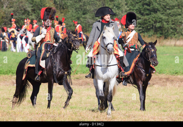 Napoleon Bonaparte escorted by Horse Chasseurs of the Imperial Guard during the Battle of Borodino, Russia - Stock Image