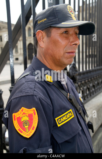 National police officer of Lima, Peru. - Stock Image