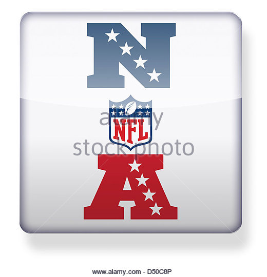 AFC NFC and NFL logos as an app icon. Clipping path included. - Stock Image