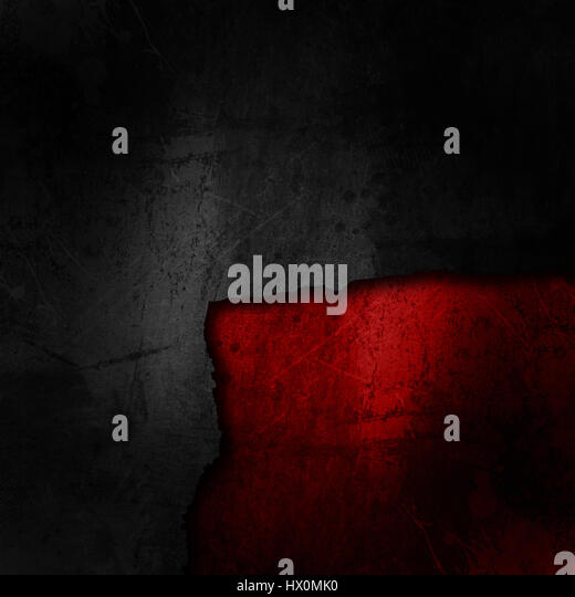 Grunge black background on a dirty red texture - Stock Image