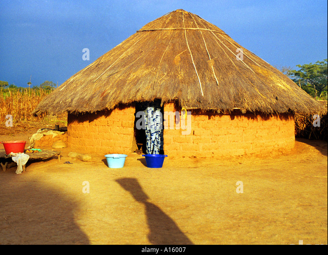 The village of Dembel Jumpora in the country of Guinea Bissau is shown. Guinea Bissau is ranked as one of the poorest - Stock Image