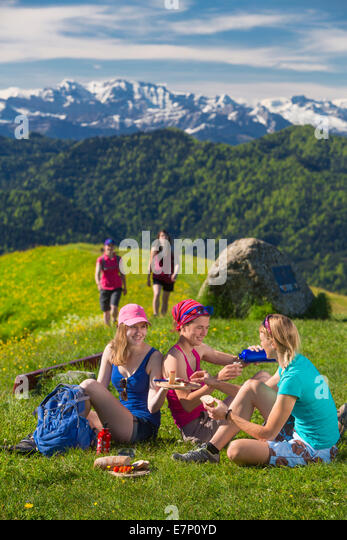Zurich uplands, walking, hiking, Hörnli, Alps, mountain, mountains, group, footpath, group, women, canton Zurich, - Stock Image