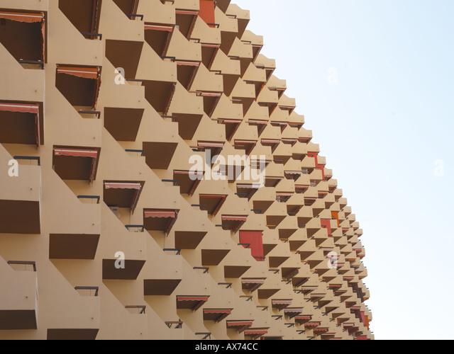 rows of apartment balconies - Stock-Bilder