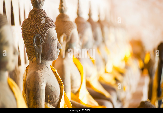 Buddhas at Wat Si Saket, the oldest temple in Vientiane, Laos, Indochina, Southeast Asia, Asia - Stock-Bilder