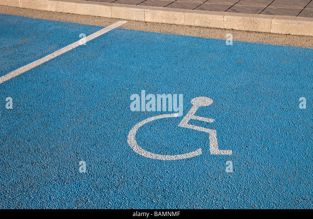 Parking space reserved for handicapped driver - Stock Image