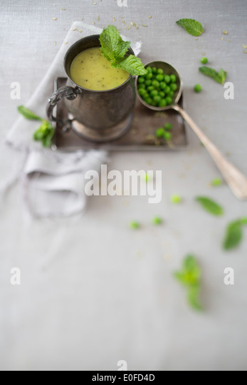 Mint & Pea Homemade Soup - Stock Image