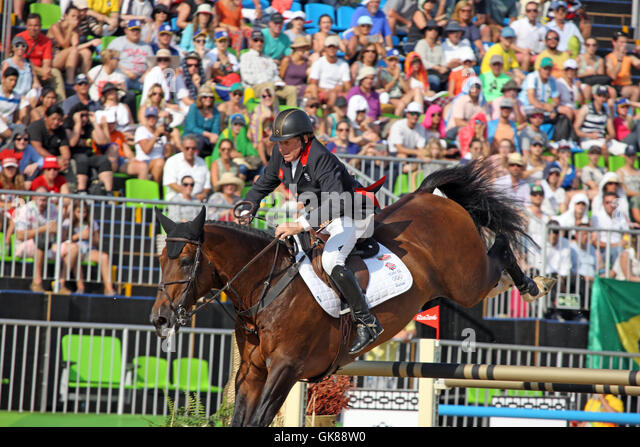 Rio de Janeiro, Brazil. 19th August, 2016. Nick Skelton of GBR on 'Big Star' in his Olympic Show Jumping - Stock Image