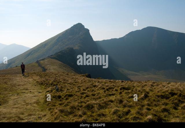 Mynydd Drws-y-coed and Trum y Ddysgl from Y Garn, Nantlle Ridge, Snowdonia, North Wales, UK - Stock Image
