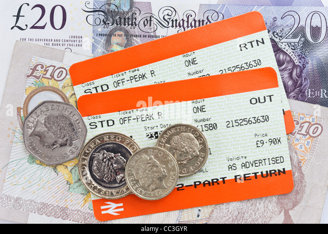 Two UK train tickets for Standard off-peak travel out and return with sterling money banknotes and coins. UK England - Stock-Bilder