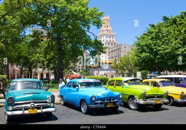 Vintage Cars, Parque Central, La Havana, Cuba - Stock Image