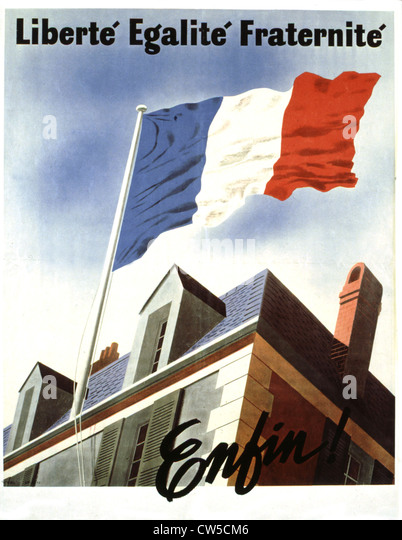 Propaganda poster when France was liberated - Stock Image