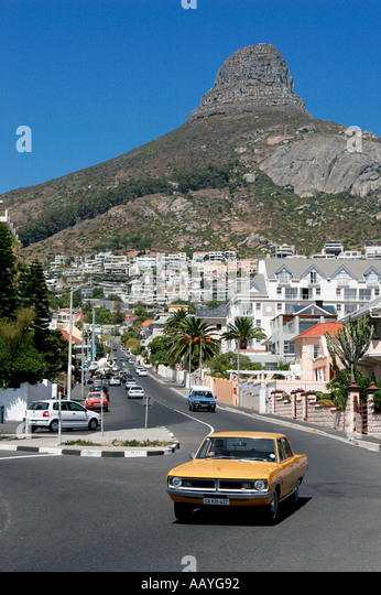 cape town clifton roundabout Oldtimer Lions head - Stock Image