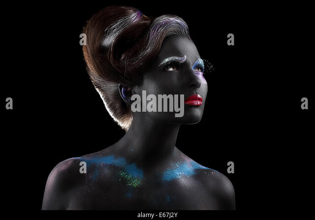 Fantasy. Artistry. Extravagant Woman with Creative Futuristic Bodyart - Stock Image