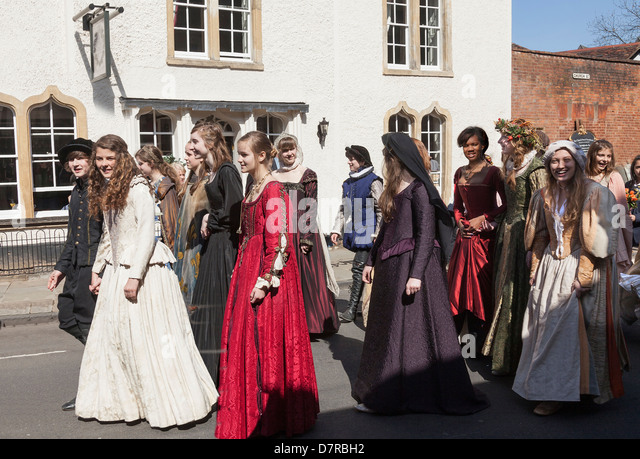Shakespeare's annual Birthday Memorial Parade at Stratford upon Avon. - Stock Image