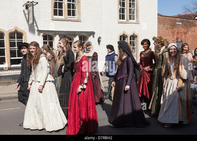 Shakespeare's annual Birthday Memorial Parade at Stratford upon Avon. - Stock Image