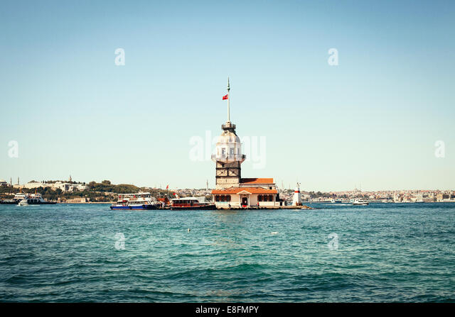Turkey, Istanbul, Marmara Region, Maiden Tower - Stock Image