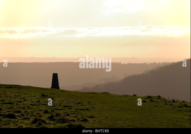 Trig Point on top of Little Solsbury Hill BaNES UK - Stock Image