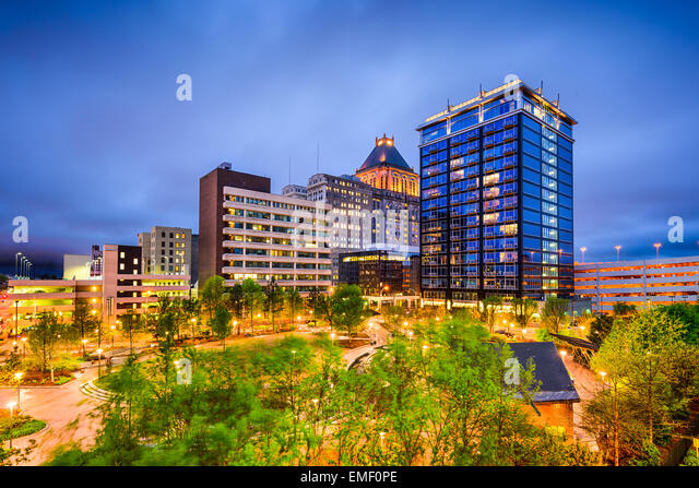 Greensboro, North Carolina, USA downtown city skyline. - Stock Image